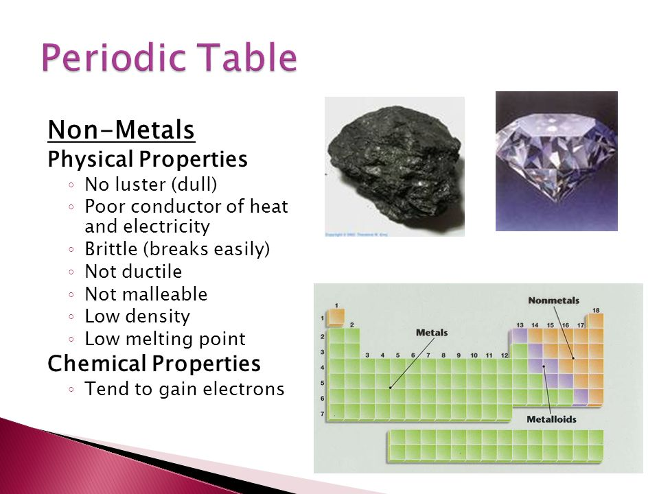Periodic Table physical properties of elements on the periodic table luster : Created by Dmitri Mendeleev ( )  Consists of ~115 element ◦ ~90 ...
