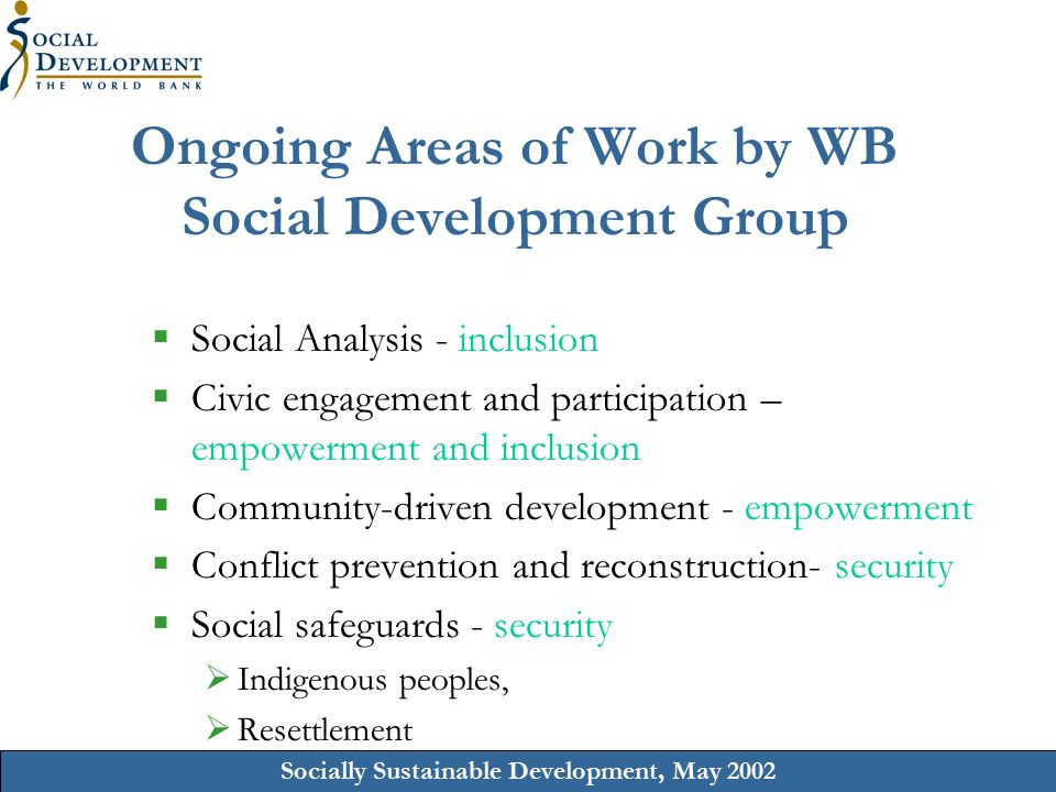 Socially Sustainable Development, May 2002 Ongoing Areas of Work by WB Social Development Group  Social Analysis - inclusion  Civic engagement and participation – empowerment and inclusion  Community-driven development - empowerment  Conflict prevention and reconstruction- security  Social safeguards - security  Indigenous peoples,  Resettlement
