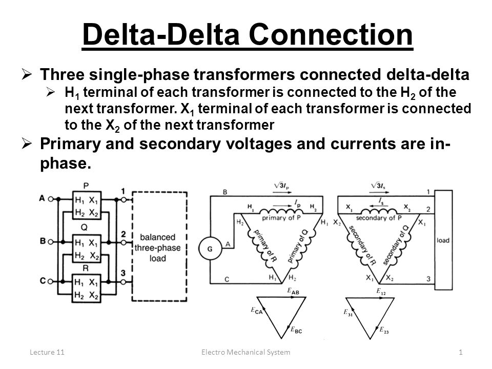 Lecture 11Electro Mechanical System1 Delta-Delta Connection  Three ...