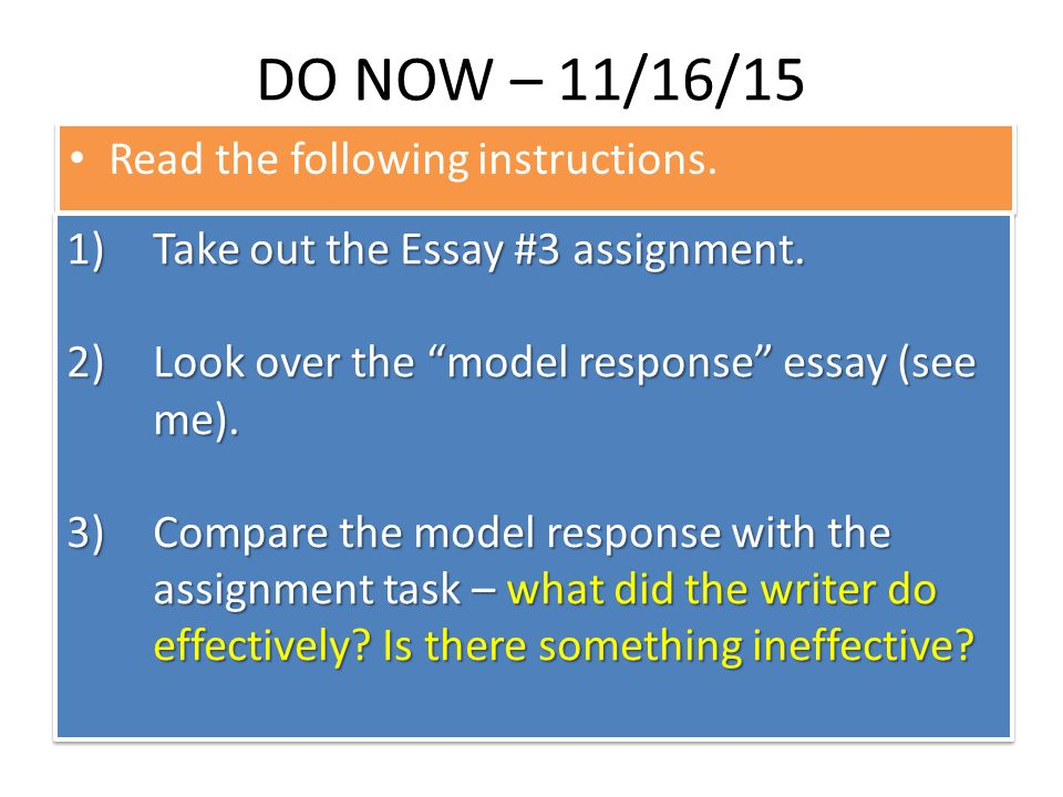writing essay directions