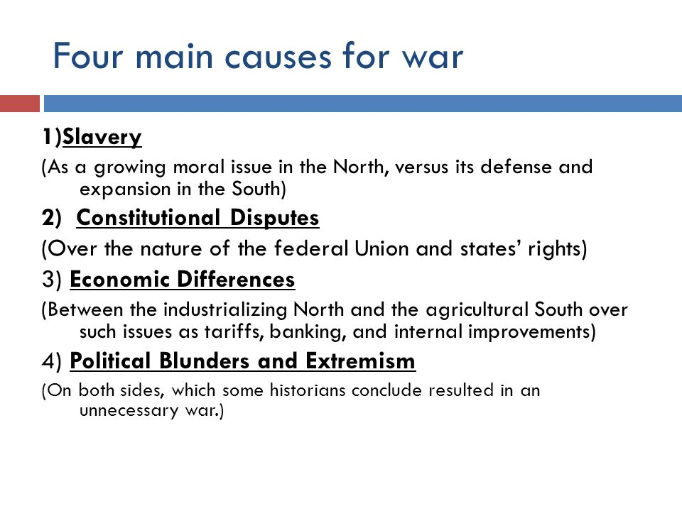 an analysis of slavery as the main cause of the american civil war The civil war 1850–1865 key people & terms summary & analysis expansion and slavery: 1846–1855 bleeding kansas: 1854–1856.