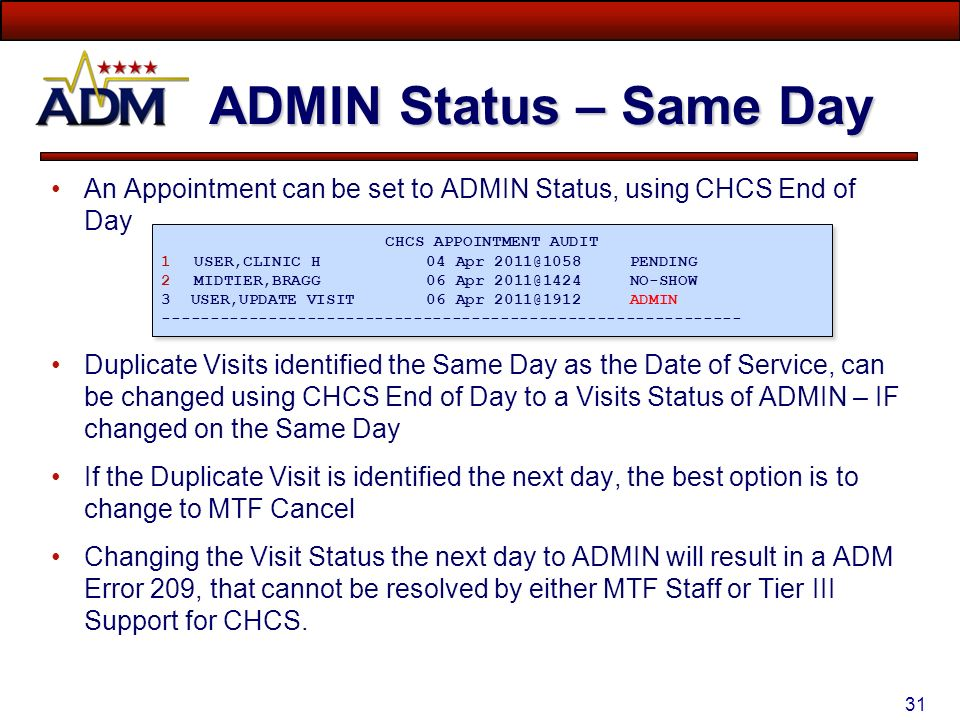 End of day report chcs