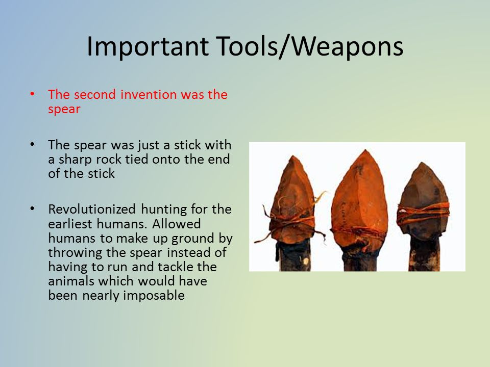 Important Tools/Weapons The second invention was the spear The spear was just a stick with a sharp rock tied onto the end of the stick Revolutionized hunting for the earliest humans.