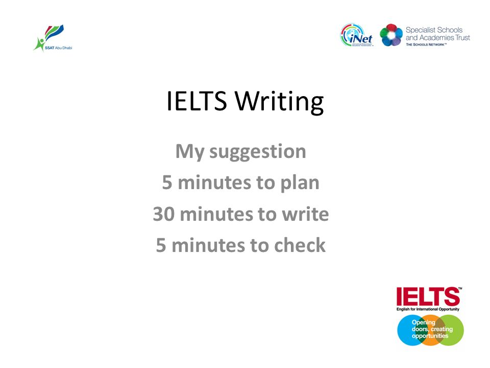 IELTS Writing My suggestion 5 minutes to plan 30 minutes to write 5 minutes to check