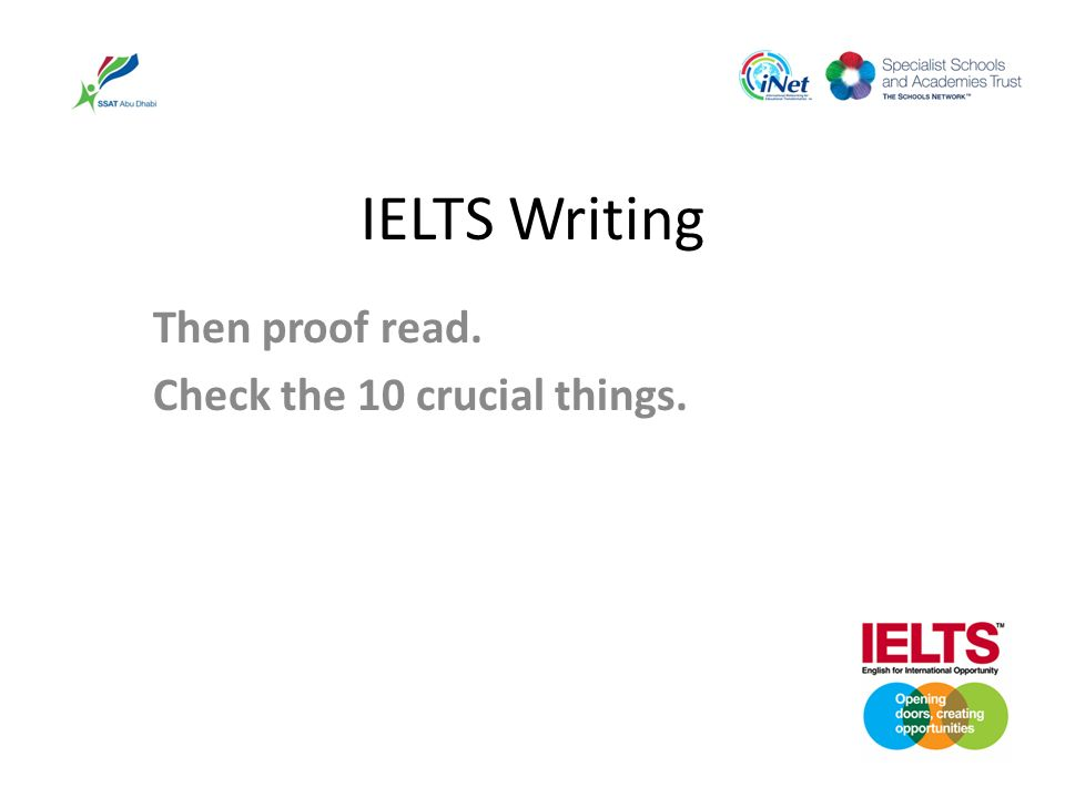 IELTS Writing Then proof read. Check the 10 crucial things.