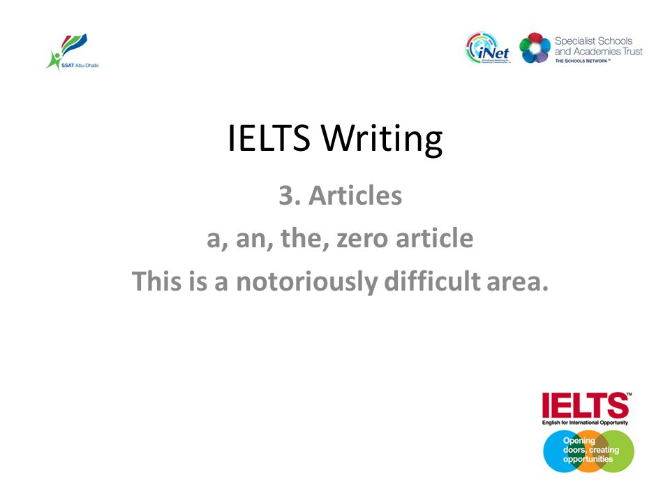 IELTS Writing 3. Articles a, an, the, zero article This is a notoriously difficult area.