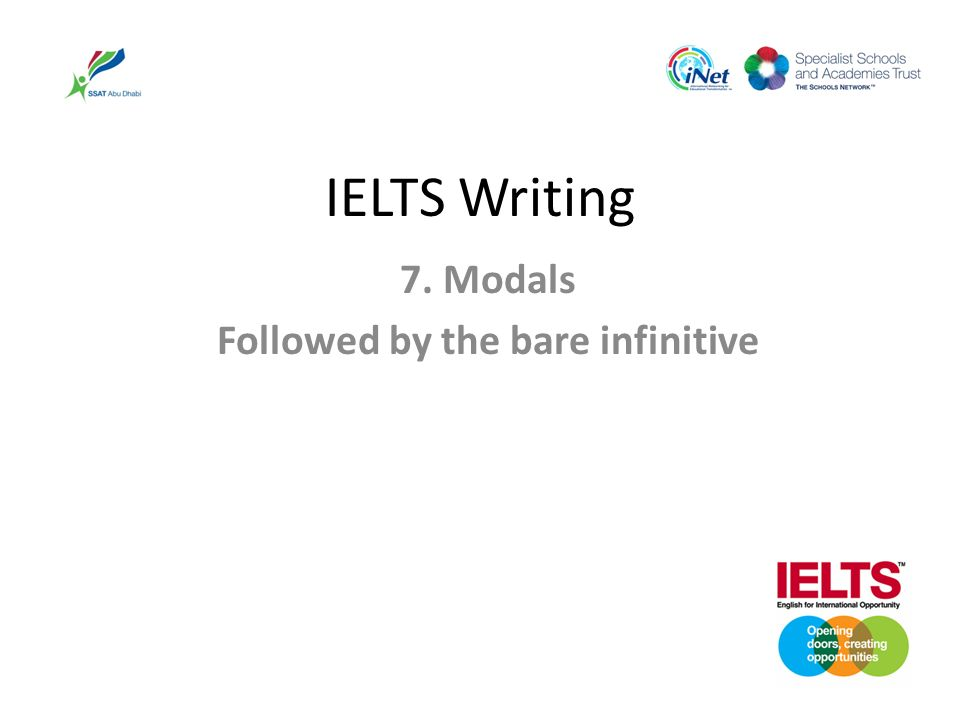 IELTS Writing 7. Modals Followed by the bare infinitive