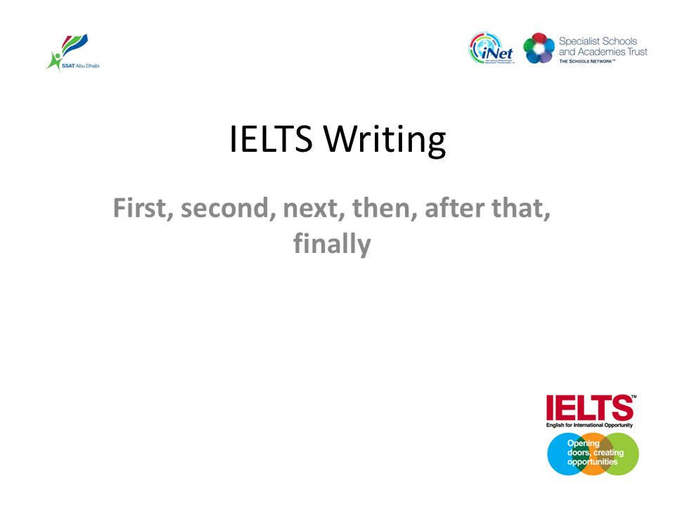 IELTS Writing First, second, next, then, after that, finally