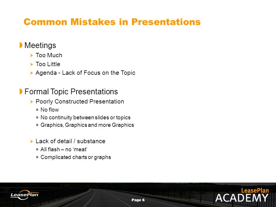 public speaking page course objectives  presentation  6 page 6 common mistakes in presentations