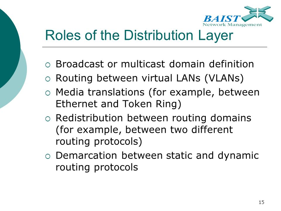 15 Roles of the Distribution Layer  Broadcast or multicast domain definition  Routing between virtual LANs (VLANs)  Media translations (for example, between Ethernet and Token Ring)  Redistribution between routing domains (for example, between two different routing protocols)  Demarcation between static and dynamic routing protocols