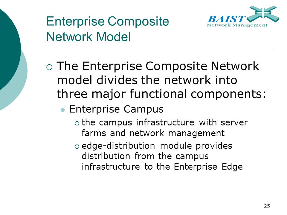 25 Enterprise Composite Network Model  The Enterprise Composite Network model divides the network into three major functional components: Enterprise Campus  the campus infrastructure with server farms and network management  edge-distribution module provides distribution from the campus infrastructure to the Enterprise Edge