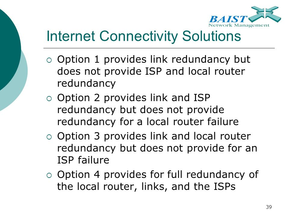 39 Internet Connectivity Solutions  Option 1 provides link redundancy but does not provide ISP and local router redundancy  Option 2 provides link and ISP redundancy but does not provide redundancy for a local router failure  Option 3 provides link and local router redundancy but does not provide for an ISP failure  Option 4 provides for full redundancy of the local router, links, and the ISPs