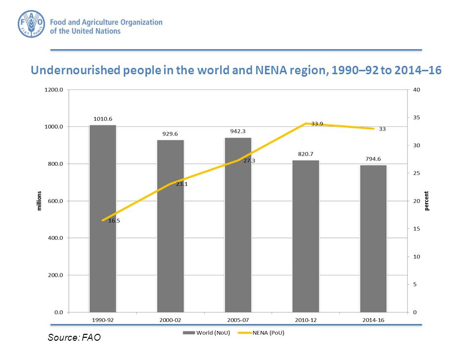 Source: FAO Undernourished people in the world and NENA region, 1990–92 to 2014–16
