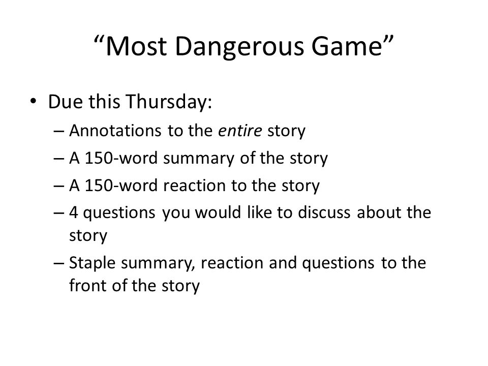 English 9 Week at a Glance Monday3 speeches finish The Most – The Most Dangerous Game Worksheet