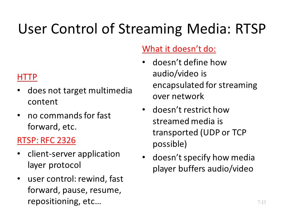 User Control of Streaming Media: RTSP HTTP does not target multimedia content no commands for fast forward, etc.