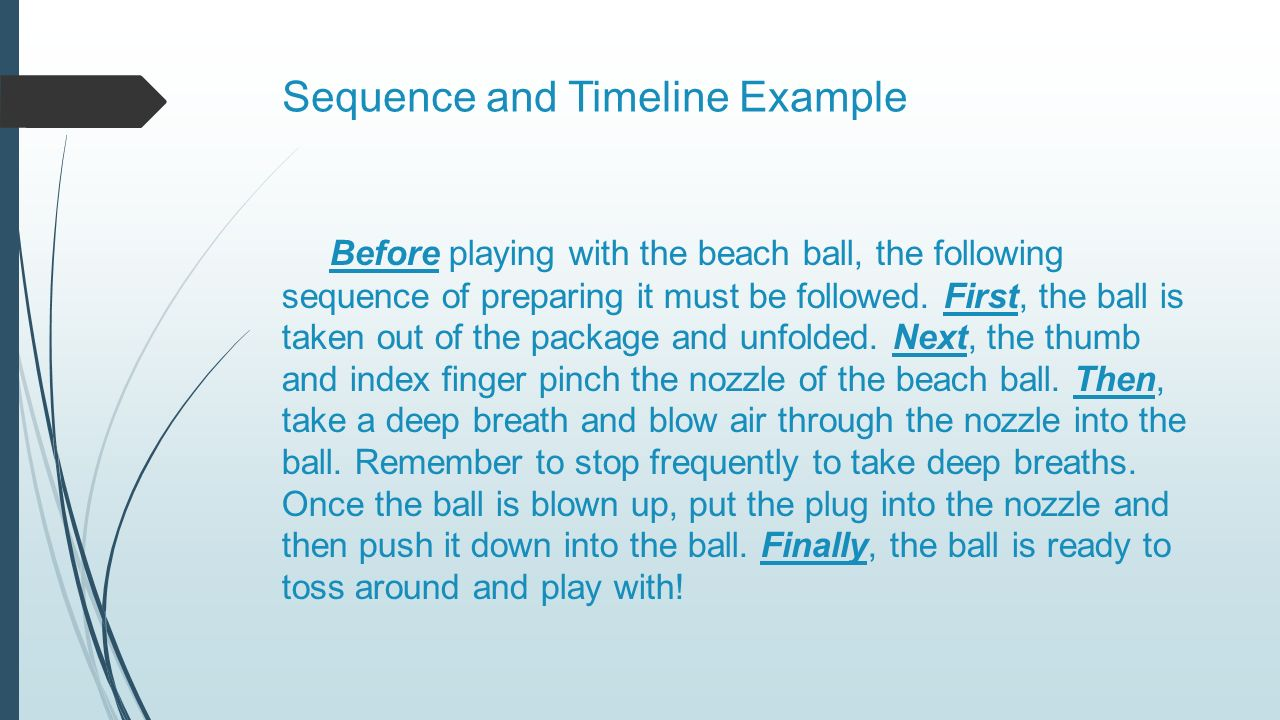 mastering text structure beach ball strategy reading non fiction sequence and timeline example before playing the beach ball the following sequence of preparing