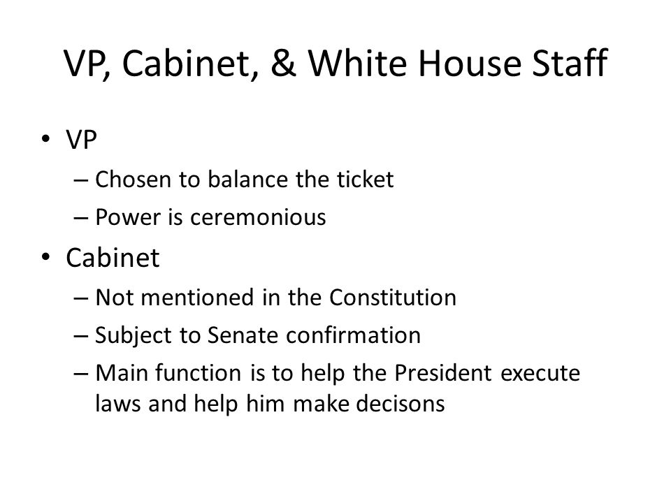 Executive Branch Part II. Presidential Authority Washington ...