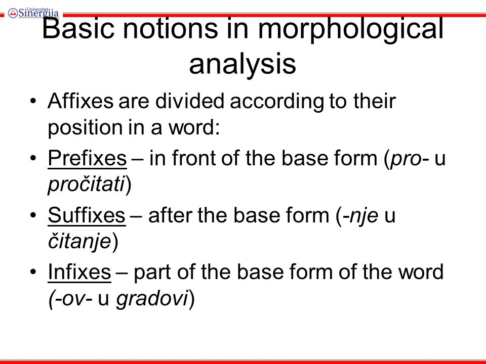 Unit 6 Morphology. Morphology Morphology deals with the structure ...
