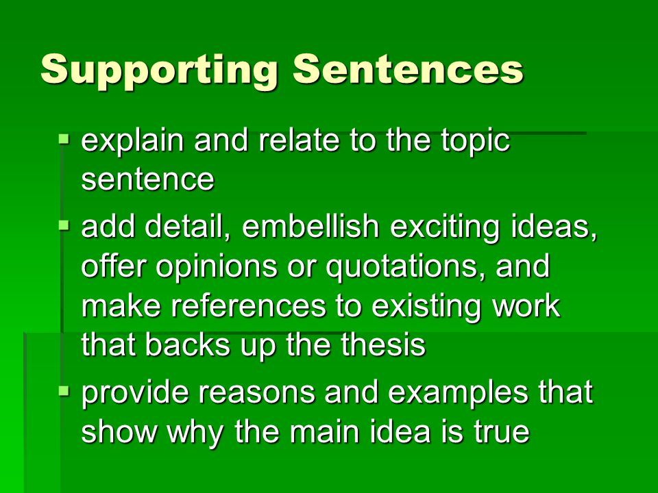 eq which sentence or sentences are irrelevant in a given 2 supporting