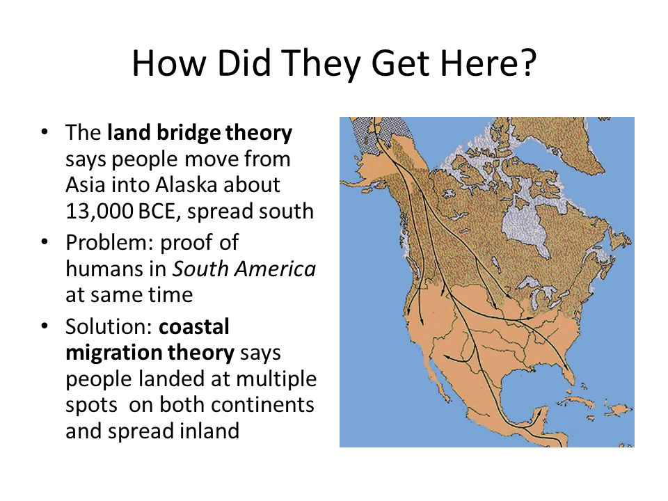 the theory of early migration to the americas Theories about how and when people first settled the americas were for early fishing and coastal migration theory and kelp highway hypothesis.