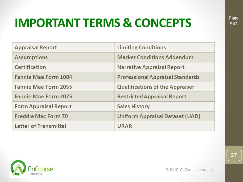 REPORTING APPRAISAL OPTIONS Basic Real Estate Appraisal ...