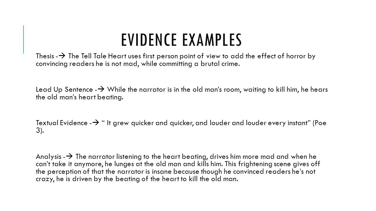 evidence and analysis ms spector room tiqa remember the evidence examples thesis iuml131nbsp the tell tale heart uses first person point of view to