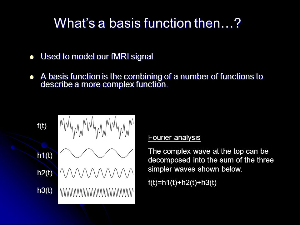 Used to model our fMRI signal Used to model our fMRI signal A basis function is the combining of a number of functions to describe a more complex function.