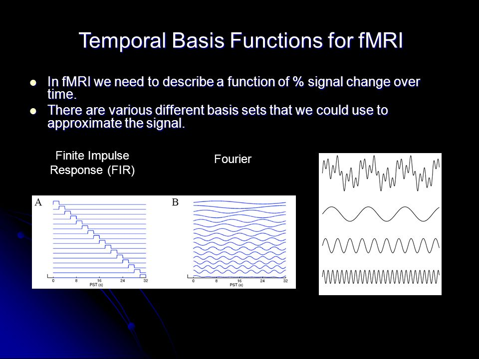 Temporal Basis Functions for fMRI In fMRI we need to describe a function of % signal change over time.