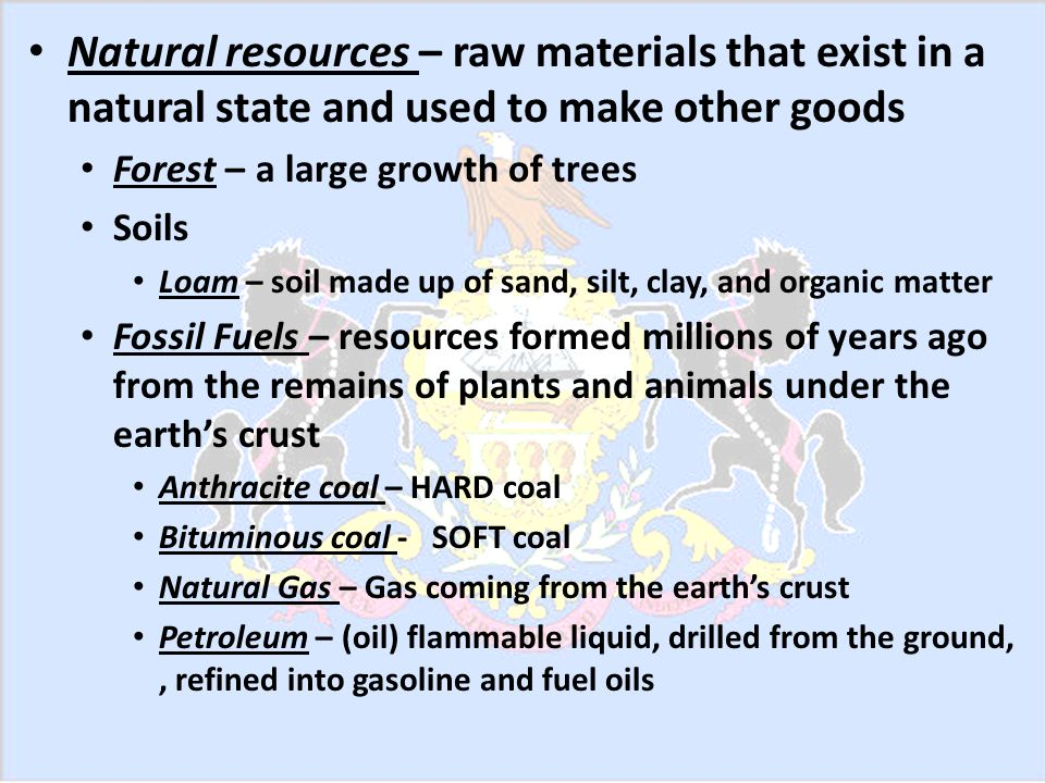 Other Natural Resources of Pennsylvania Lesson ppt download