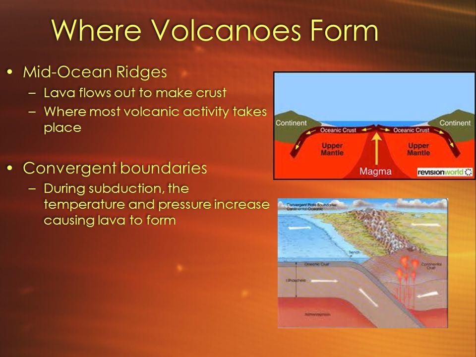 Where Volcanoes Form Mid-Ocean Ridges –Lava flows out to make ...