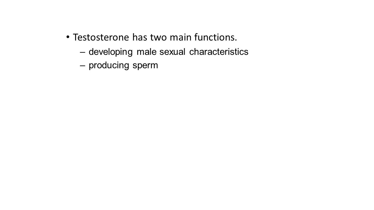 Testosterone has two main functions. –developing male sexual characteristics –producing sperm
