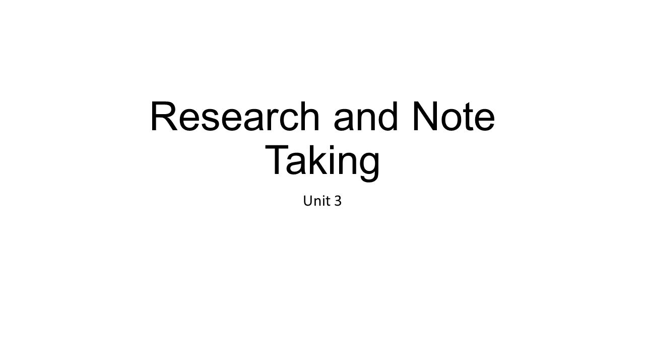 Note taking research