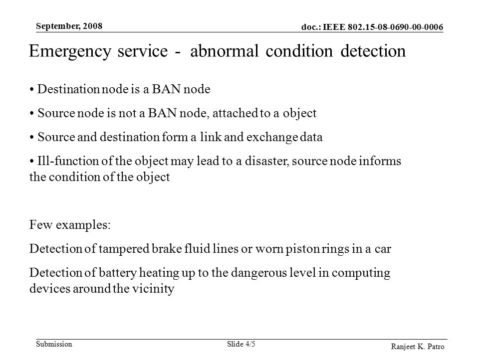doc.: IEEE Submission September, 2008 Ranjeet K.