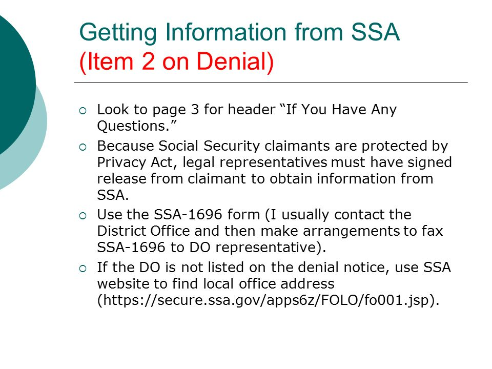 Social Security and SSI Practice—Deconstructing a Denial Notice ...