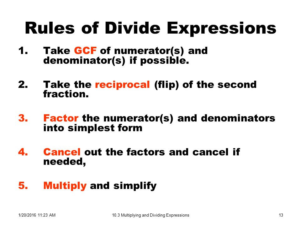 1/20/ :24 AM10.3 Multiplying and Dividing Expressions1 Simplify ...