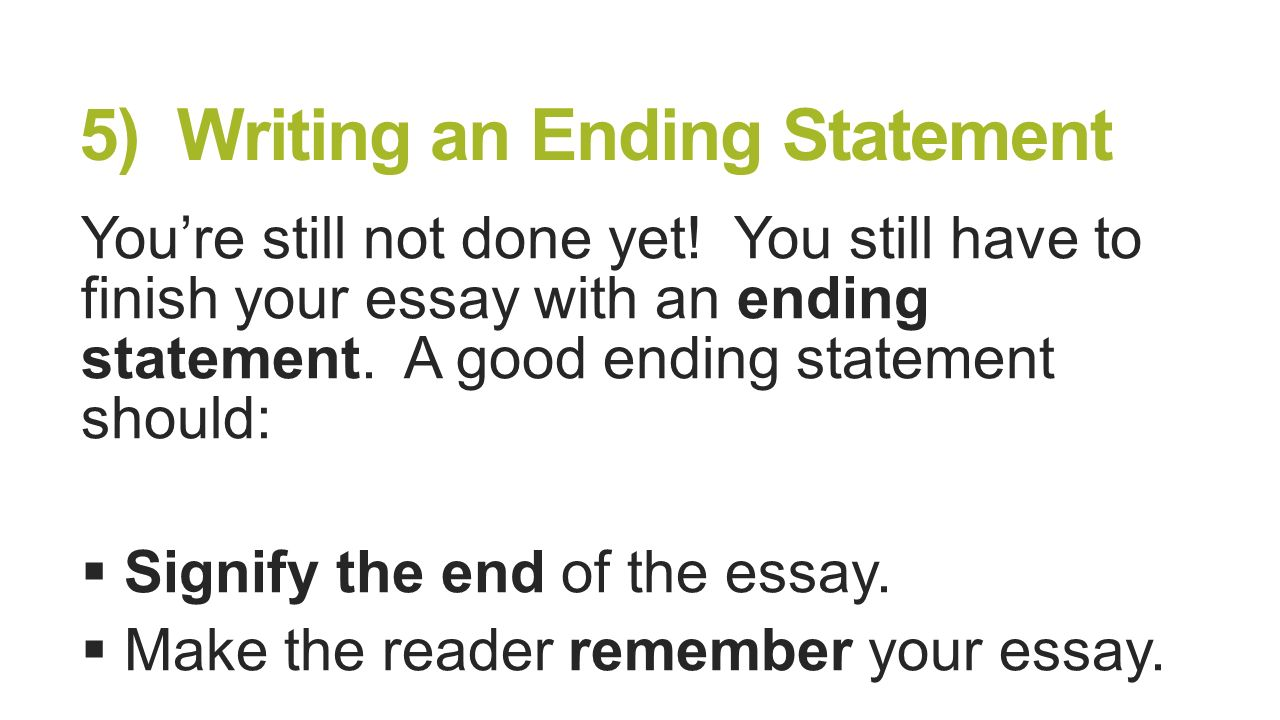 End Of Essay