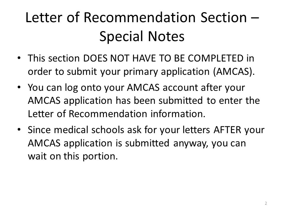 Navigating The Letter Of Recommendation Section On Amcas For