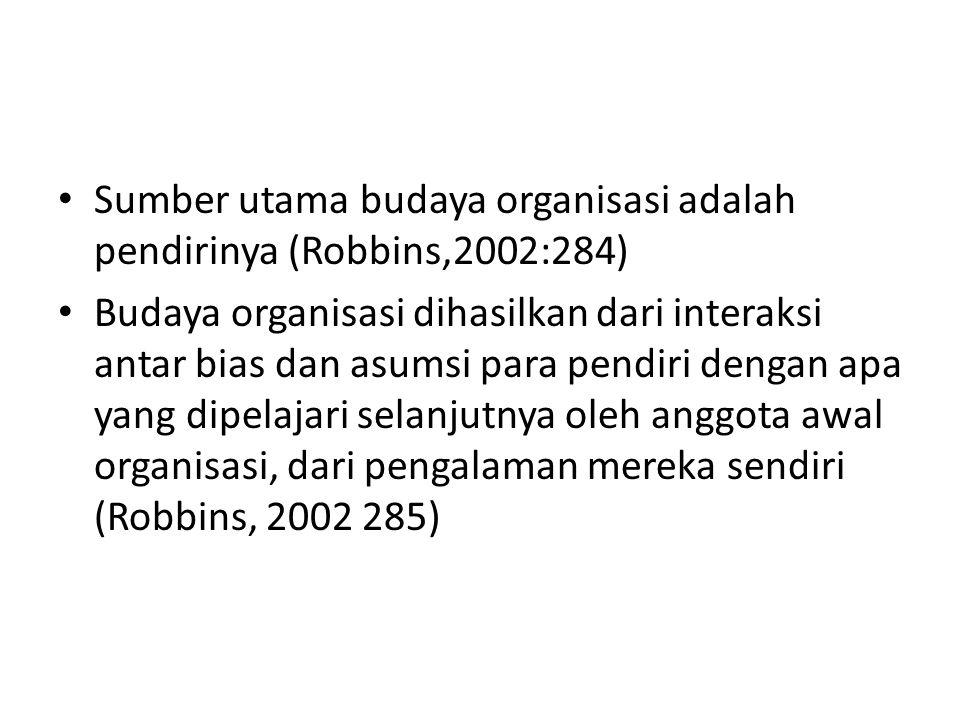 Sumber utama budaya organisasi adalah pendirinya (Robbins,2002:284) Budaya organisasi dihasilkan dari interaksi antar bias dan asumsi para pendiri dengan apa yang dipelajari selanjutnya oleh anggota awal organisasi, dari pengalaman mereka sendiri (Robbins, 2002 285)