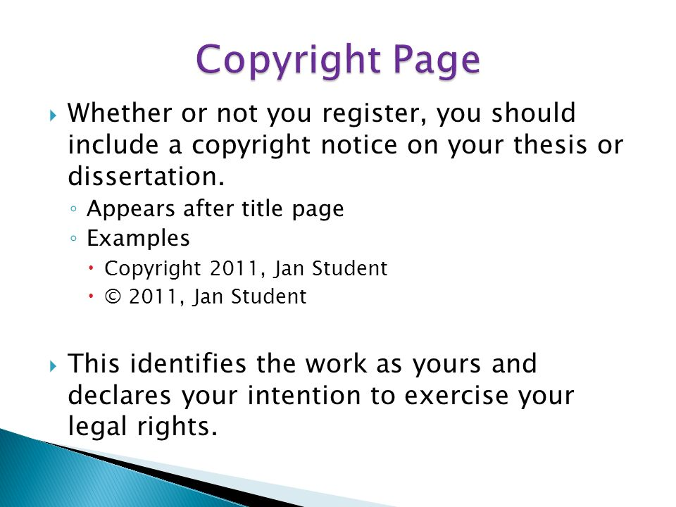 Dissertation Copyright Page Contents