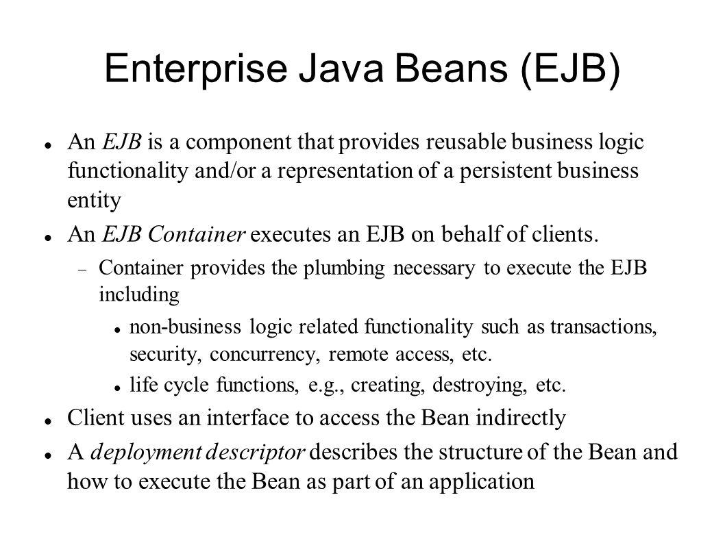 Session beans based on patel brose silverman mastering enterprise java beans ejb an ejb is a component that provides reusable business logic baditri Images