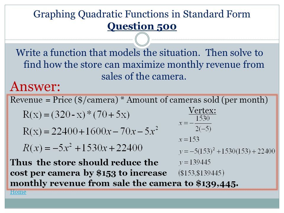 Graphing Quadratic Functions in Standard Form Graphing Quadratic – Graphing Quadratic Functions in Standard Form Worksheet