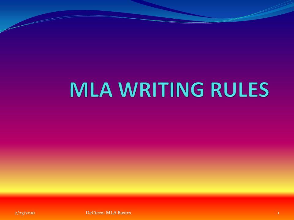 decicco mla basics mla rules for essays general  1 2 23 20101decicco mla basics