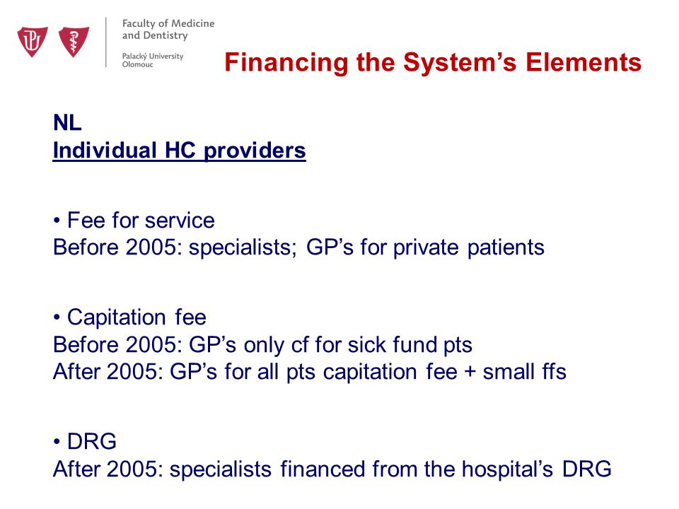 Financing the System's Elements NL Individual HC providers Fee for service Before 2005: specialists; GP's for private patients Capitation fee Before 2005: GP's only cf for sick fund pts After 2005: GP's for all pts capitation fee + small ffs DRG After 2005: specialists financed from the hospital's DRG