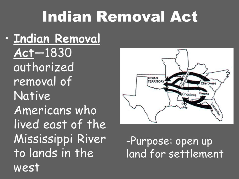 Purpose of Indian Removal Act?