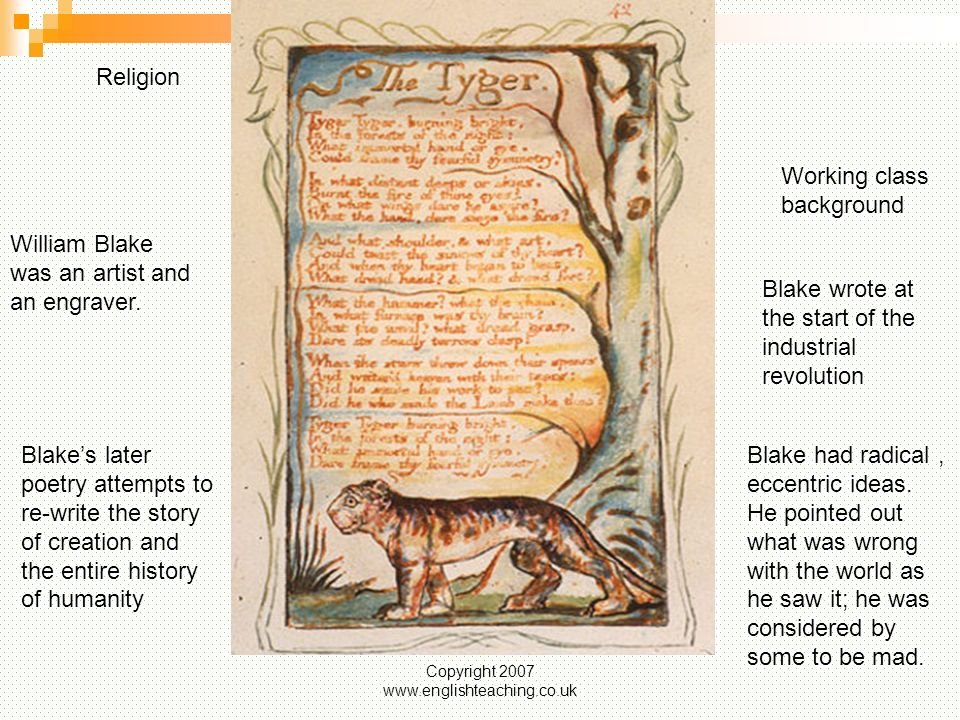 an analysis of the poem the tyger by william blake Ruhr-universität bochumenglisches seminar analysis of 'the tyger' paper it is the same case in the poem blake is to essay the tyger-william blake.