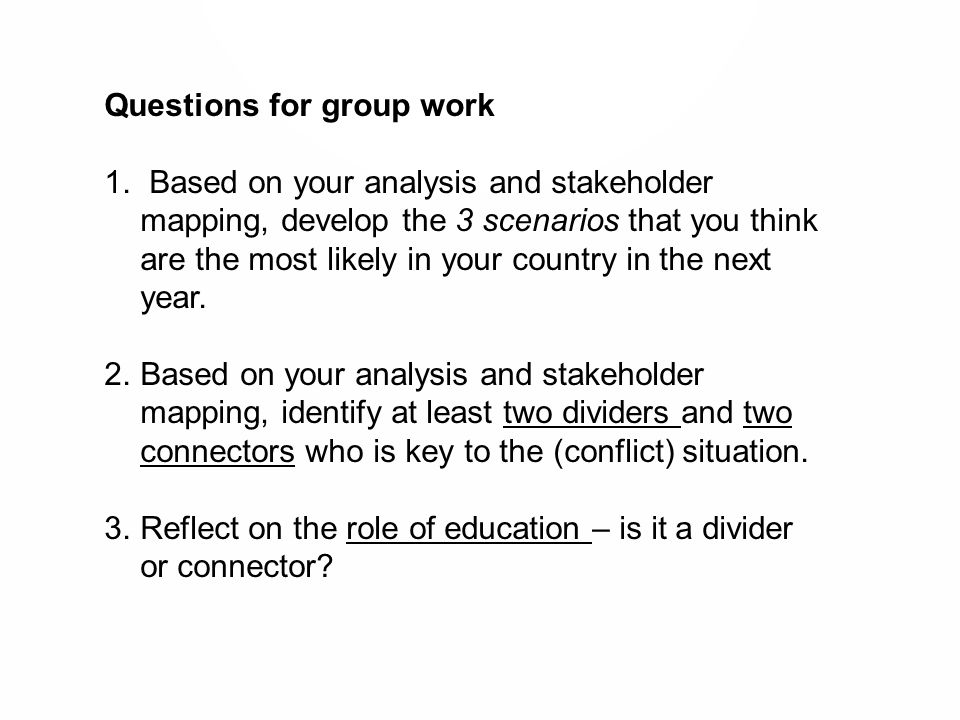Questions for group work 1.