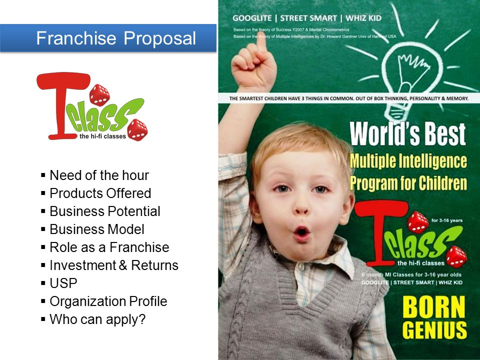 Franchise Proposal  Need of the hour  Products Offered  Business Potential  Business Model  Role as a Franchise  Investment & Returns  USP  Organization Profile  Who can apply