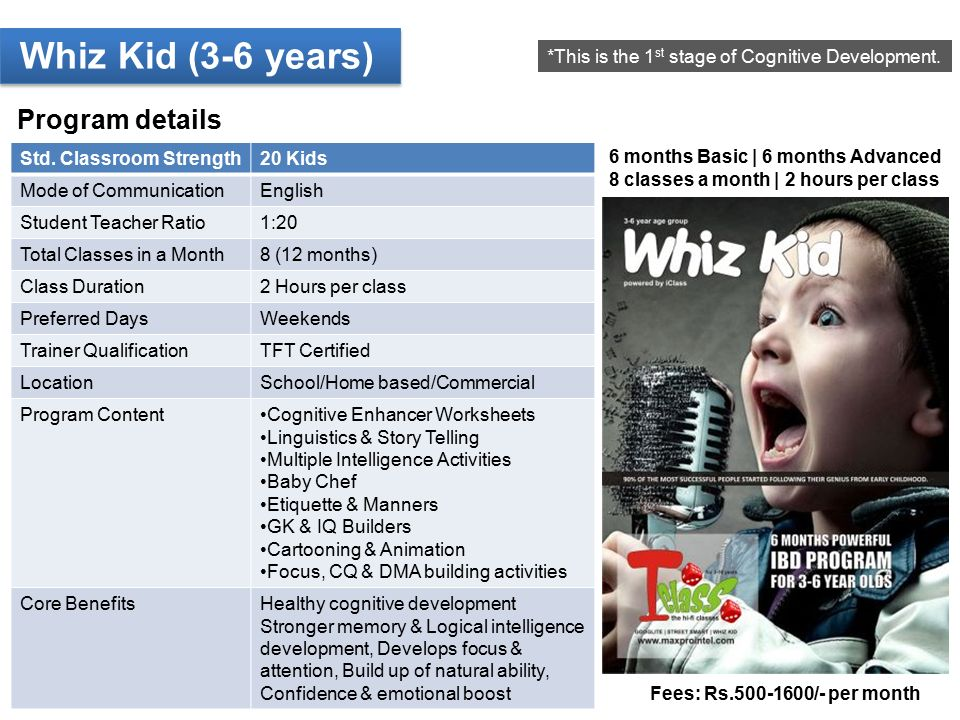 Whiz Kid (3-6 years) Program details *This is the 1 st stage of Cognitive Development.