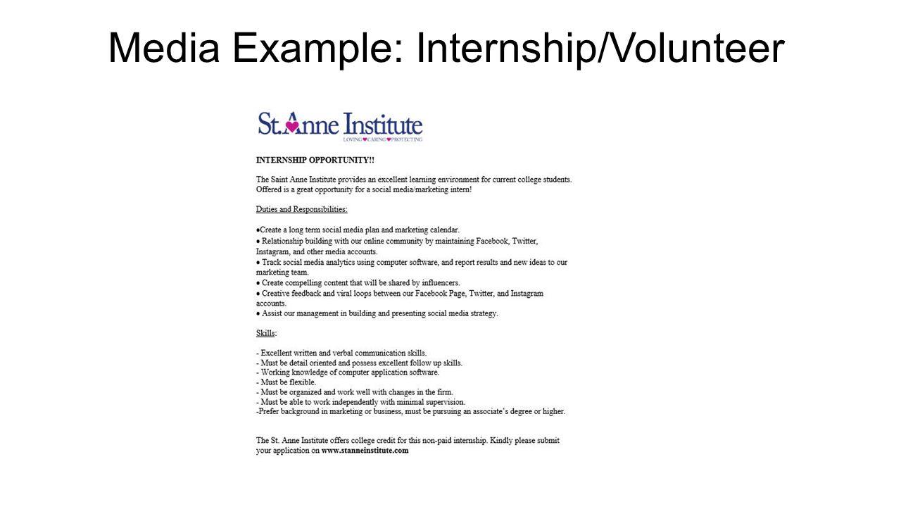 marketing plan for st anne institute community based program 32 media example internship volunteer
