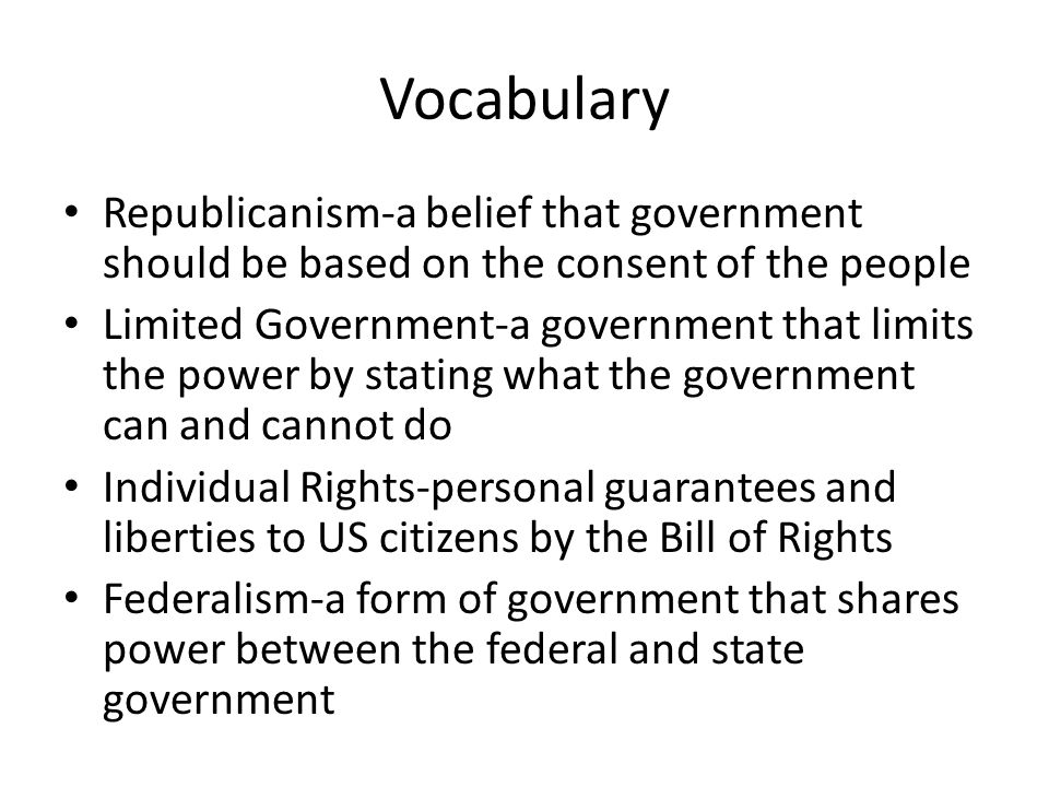 The Republic of Texas. Vocabulary Republicanism-a belief that ...